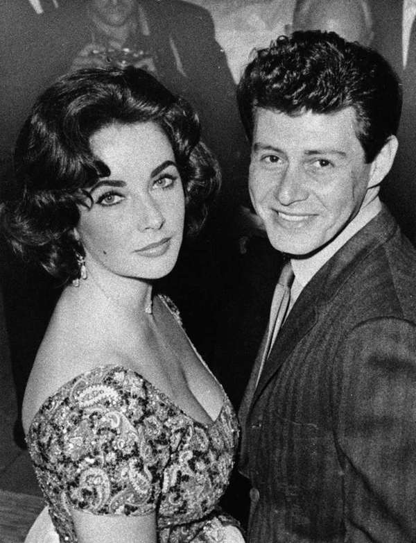 Elizabeth Taylor is seen with singer Eddie Fisher