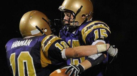 Sayville High School wide receiver #15 Mike Rahn,