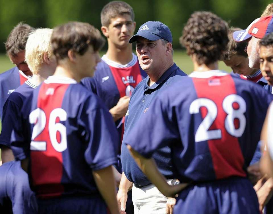 Cold Spring Harbor Head Coach Ed Moeller addresses