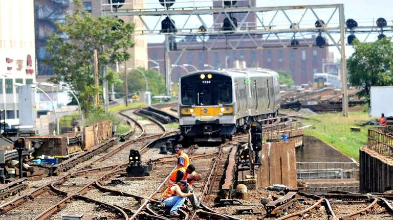 Long Island Rail Road workers manually 'block and