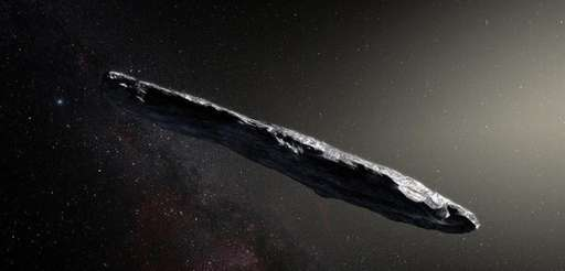 An artist's impression of Oumuamua, the cigar-shaped