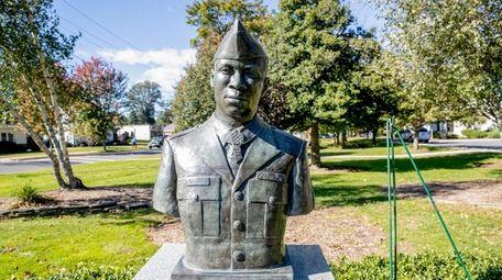 A bronze bust of P.F.C Garfield M. Langhorn