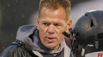 Head Coach Rick Punzone of Babylon talks to