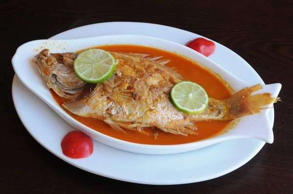 Baked red snapper served at La Cocina de