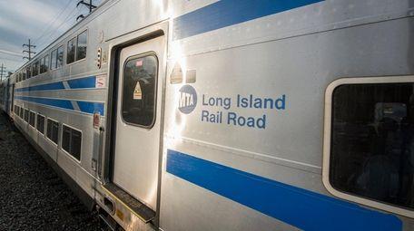 A bi-level Long Island Rail Road commuter train