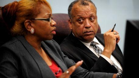 The Wyandanch interim superintendent, Pless Dickerson, listens during