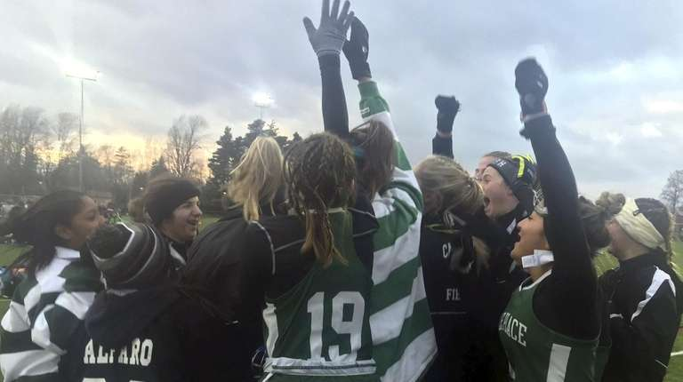 Carle Place reacts after defeating Burke 5-0 in