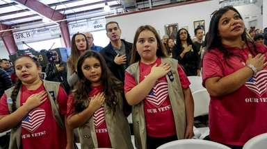 From left, Alexandra Saccone, 10, Samantha Vacchiano, 11,
