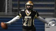 Tom von Bargen of Wantagh reacts after catching