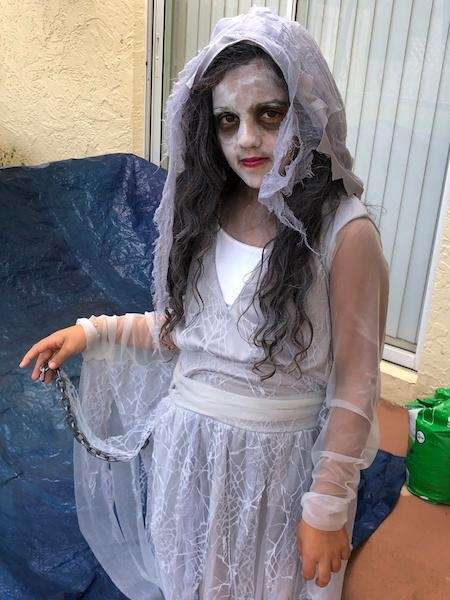 Shiloe Khokhar dressed as a ghost at West