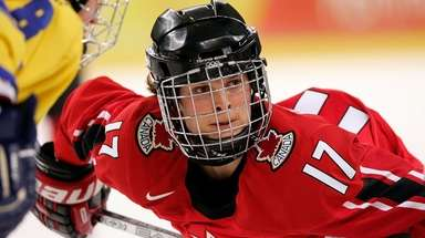 Jennifer Botterill of Canada gets ready for a
