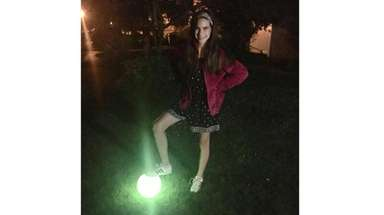 Kidsday reporter Hannah McNally with the NightBall light-up