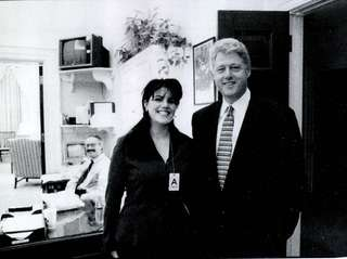 Intern Monica Lewinsky meets President Bill Clinton at
