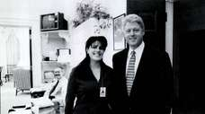 Intern Monica Lewinsky meets President Bill Clinton at