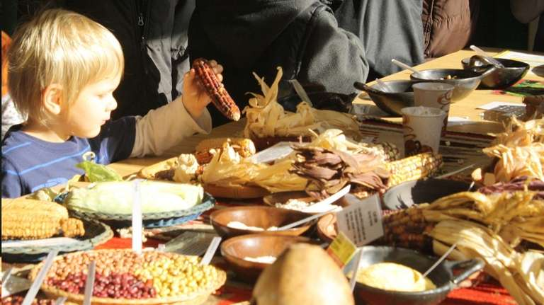 Food displays at the 2014 Native American Feast