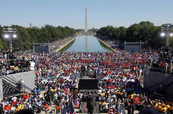 Activists gather at the Lincoln Memorial in Washington