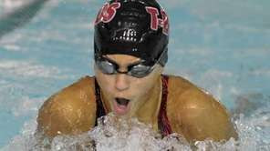 Connetquot's Mikaila Gaffey swims the 100 breaststroke during