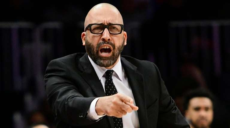 Knicks coach David Fizdale gestures during the first