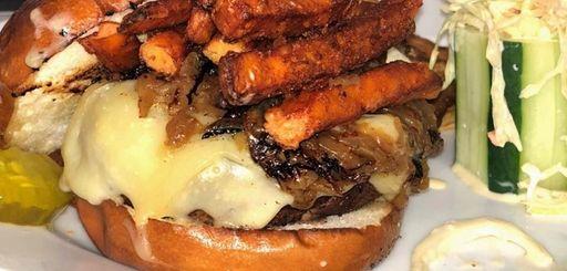 The Bleachers burger at Bleachers Bar and Grill