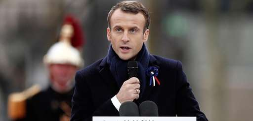 French President Emmanuel Macron speaks against nationalism on
