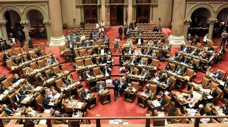 Assembly members at the state Capitol in Albany