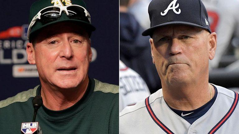 Oakland's Bob Melvin, left, and Atlanta's Brian Snitker