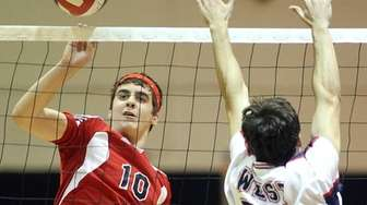 Smithtown East's Matt Pellechi (10) hits the