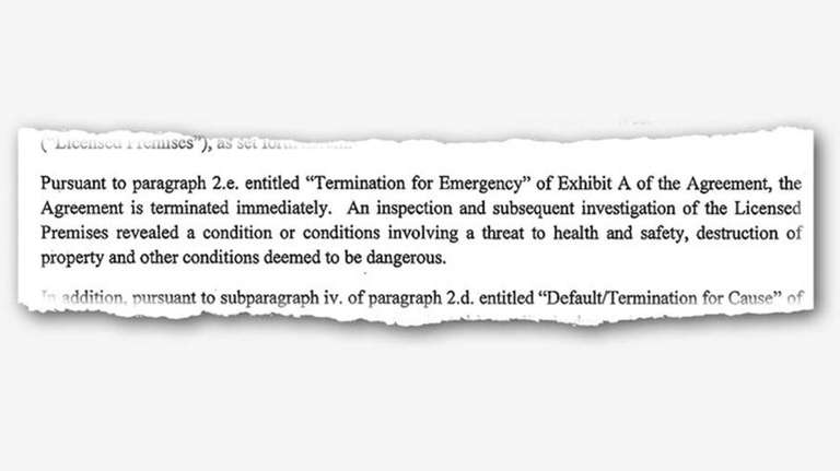 An excerpt from the September 2016 termination letter