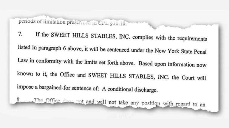 An excerpt from the Sweet Hills Stables Inc.