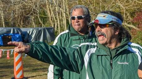 Rolling Thunder founder Steve Cuomo, right, coaches at