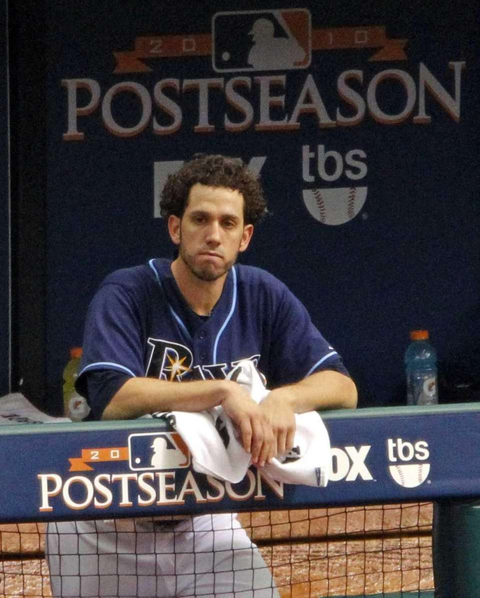 Tampa Bay Rays starting pitcher James Shields reacts