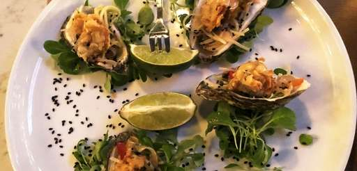 Crispy oysters with Thai green-papaya slaw at NoCo