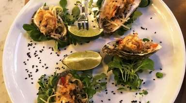 Crispy oysters with Thai green-papaya slaw at NoCo