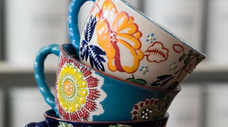 Colorful tea cups, a popular gift item for
