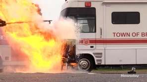 On Thursday, Brookhaven Town officials demonstratedthe dangers of