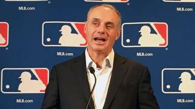 Major League Baseball commissioner Rob Manfred speaks Thursday