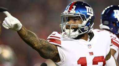 Odell Beckham Jr. of the Giants celebrates after