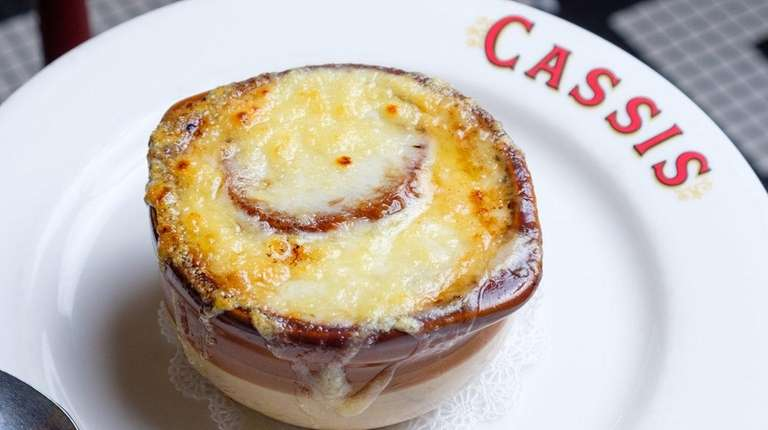 French onion soup served at Brasserie Cassis in
