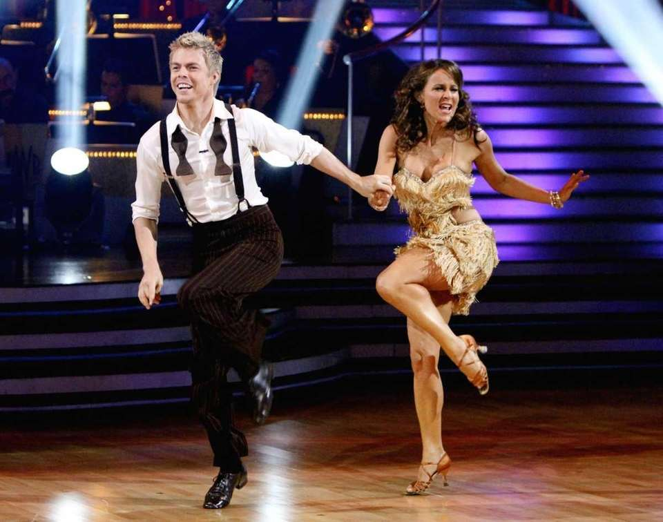 Jennifer Grey, right, and her partner Derek Hough