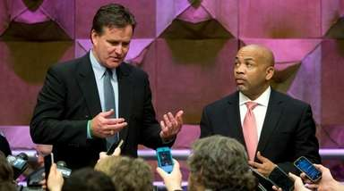 Senate Majority Leader John Flanagan, R-Smithtown, left, and