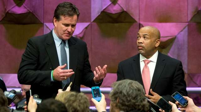 Senate Majority Leader John Flanagan, R-Smithtown, left, and