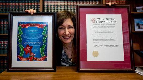 Rachel Zampino holds her Clown U diploma, left,