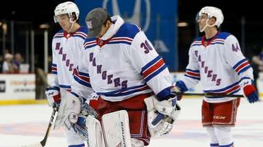 Henrik Lundqvist #30 of the New York Rangers