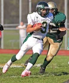 William Floyd quarterback A.J. Otranto #3, tries to