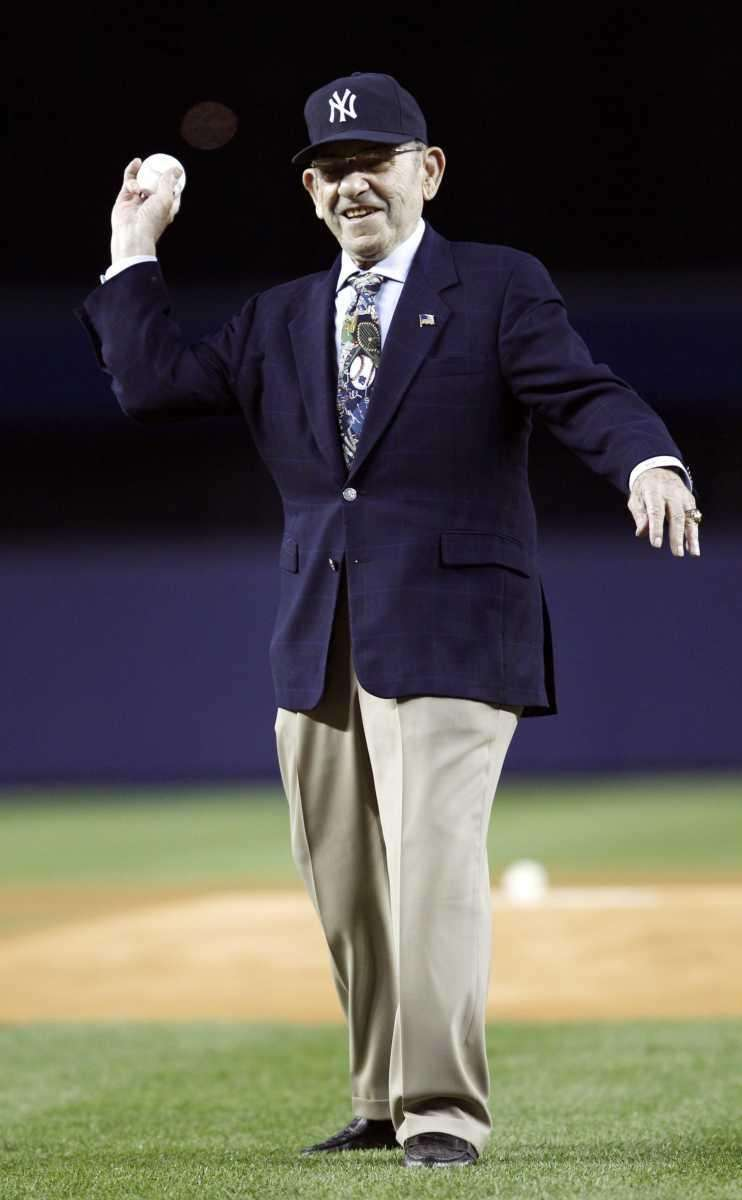 Yogi Berra throws out the ceremonial first pitch