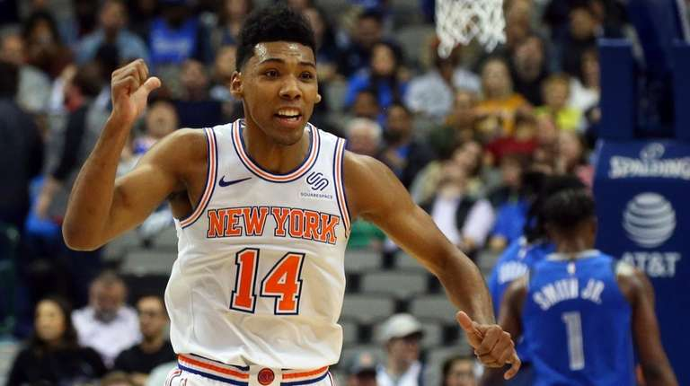 Knicks rookie guard Allonzo Trier reacts during a