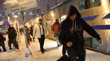 Commuters at LIRR Mineola Station make their way