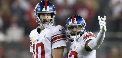 Eli Manning #10 and Odell Beckham #13 of