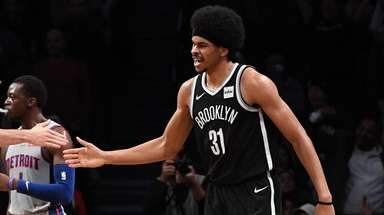 Nets center Jarrett Allen and Nets forward Joe