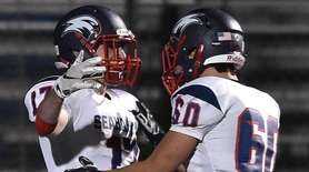 Daniel Striano #17 of Cold Spring Harbor, left,